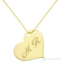 Goldstore 14 Ayar Altın Aşkın Baş Harfleri Kalp Kolye PNJDLP27853
