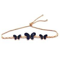 Beyazıt Takı 925 Ayar Gümüş Mavi Kelebek Bileklik
