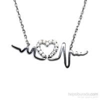 Zirkon Taşlı Gümüş Kolye Kalp Atışı T004