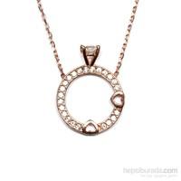 Zirkon Taşlı Rose Gümüş Kolye Tek Taş T008