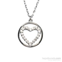 Zirkon Taşlı Gümüş Kolye Çember Kalp T012