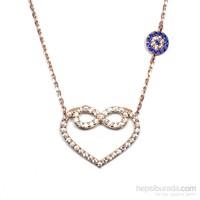 Safir Zirkon Taşlı Rose Gümüş Kolye Kalpli Sonsuzluk T013