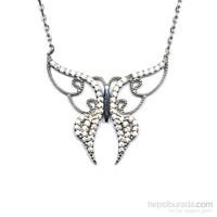 Zirkon Taşlı Gümüş Kolye Kelebek T026