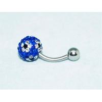 Cadının Dükkanı 316L Cerrahi Çelik Mavi Taşlı Çiçekli Göbek Pierci