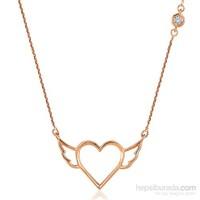 Divas Love Pırlantalı Melek Kanatlı Kalp Altın Kolye