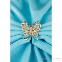 Morvizyon Gold Kelebek Tasarımlı Parlak Taşlı Bayan Broş
