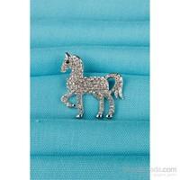 Morvizyon Gümüş At Figürlü Parlak Taşlı Bayan Broş