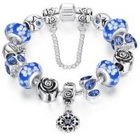 Angemiel Koyu Mavi Murano Çiçek Charm Bileklik