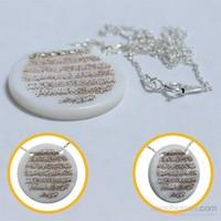 Prado Sedef Taşlı Altın Varak Ayetel Kürsi Gümüş Kolye