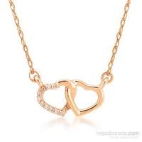 Divas Love Altın Pırlantalı İki Kalp Kolye