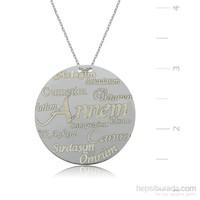 Gumush 925 Annelere Özel Plaka Gümüş Kolye