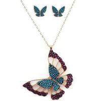 Beyazıt Takı Üç Boyutlu Renkli Kelebek Ve Kelebek Küpe Kombini