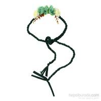 Chiccy Yeşil Örgü Biyeler Yeşil Beyaz Çiçekler Saç Aksesuarı