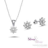 Silver & Silver Çiçek Tektaş Takı Seti