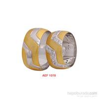 Arjuna Gümüş Tek Taş El İşi Çift Alyans Al1078