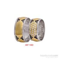 Arjuna Gümüş Tek Taş El İşi Çift Alyans Al1083