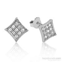 Tekbir Silver Gümüş Geometrik Desenli Küpe