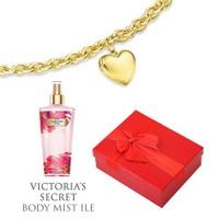 Melis Gold Altın Kalpli Charm Bileklik Hp0120 + Victoria's Secret Body Mist Hediye !!