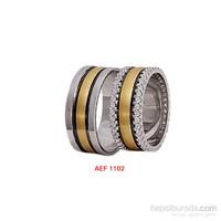 Arjuna Gümüş Tek Taş El İşi Çift Alyans Al1102
