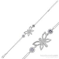 Tekbir Silver Gümüş Nazarlı Kelebek Bileklik