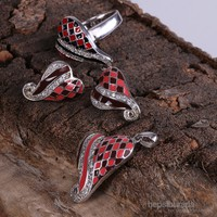 Sanal Kuyumculuk 925 Ayar Gümüş Kolye-Küpe-20 Numara Yüzük Set Takı