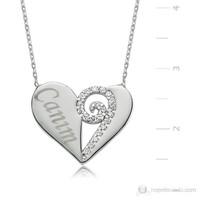 Bayan Lili Canım Kalp Gümüş Kolye