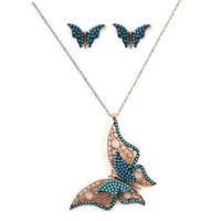 Beyazıt Takı Üç Boyutlu Kelebek Ve Kelebek Küpe Kombini