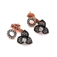 İndigo Takı Çiçek Elmas Montür Gümüş Küpe