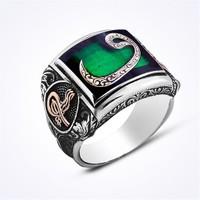 Mina Silver Yeşil Renk Taşsız Arapça Vav Erkek Gümüş Yüzük