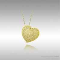 Sheamor Kabartma Sarı Kalp Altın Kolye