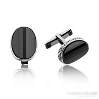 Tekbir Silver Gümüş Oval Desenli Kol Düğmesi