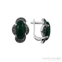 Tesbihane 925 Ayar Gümüş Yeşil Akik Taşlı Özel Tasarım Küpe