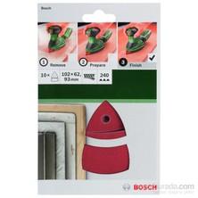 Bosch - Multi Zımpara Kağıdı 10'Lu, 102 X 62/93 Mm 240 Kum 11 Delik