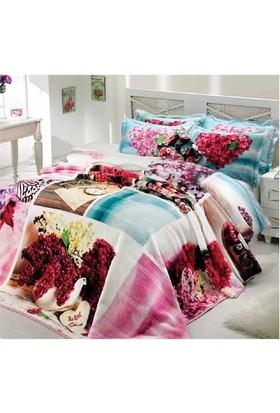 Merinos Çift Kişilik Blanket Set Patchwork Fuşya