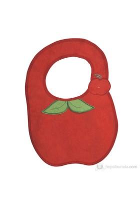 BabyJem Elma Desenli Mama Önlüğü / Kırmızı