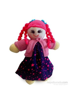 Damla Oyuncak Pembe Saçlı Kız Bebek Amigurumi Örgü Oyuncak