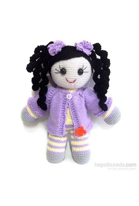 Damla Oyuncak Lila Hırkalı Kız Bebek Amigurumi Örgü Oyuncak