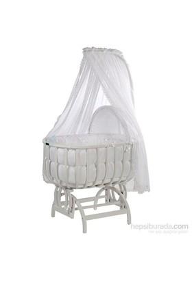 Baby Tech 113 Saraylı Ahşap Bebek Beşiği Beyaz