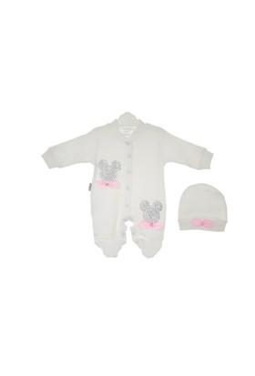 Akyüz Bebe Küçük Taşlı Tulum Krem 50 Cm