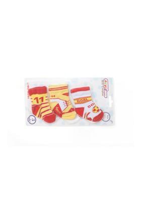 Akyüz Bebe Üçlü Fanatik Desenli Çorap Kırmızı