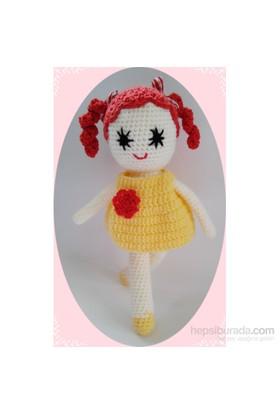 Damla Oyuncak Sarı Elbiseli Amigurum .Örgü Oyuncak