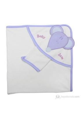 BabyJem Yeni Doğan Havlusu Bipbipli / Beyaz Lila Biyeli