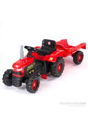 Dolu Römorklu Traktör (Pedallı) Kırmızı