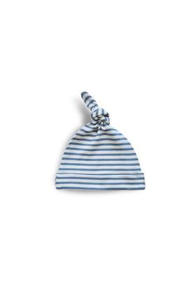 Baby Corner Çizgili Kukuleta Şapka İndigo Krem