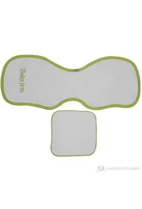 BabyJem Omuz Örtüsü Ve Ağız Mendili / Beyaz Yeşil