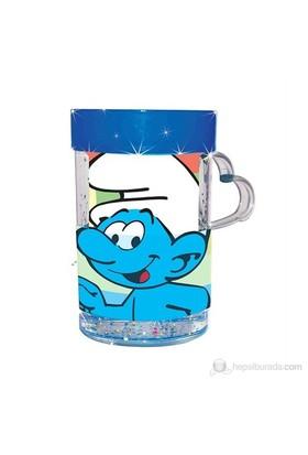 Şirinler Simli Sulu Kupa / Mavi