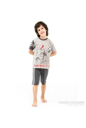 Roly Poly 2420 Erkek Çocuk Pijama Takımı Kapri Gri 1 Yaş (86 Cm)