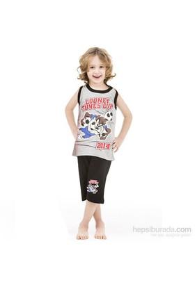 Roly Poly 3024 Tazmanya Lisanslı Erkek Çocuk Pijama Takımı Gri 8 Yaş (128 Cm)