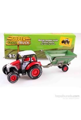 Nani Toys Römorklu İş Traktörü Çek Bırak Diecast Model Araç