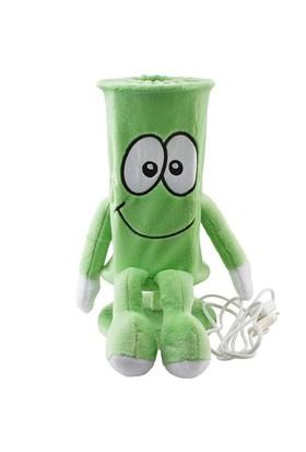 Kollu Bacaklı Peluş Abajur Yeşil